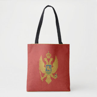 Grunge sovereign state flag of Montenegro Tote Bag