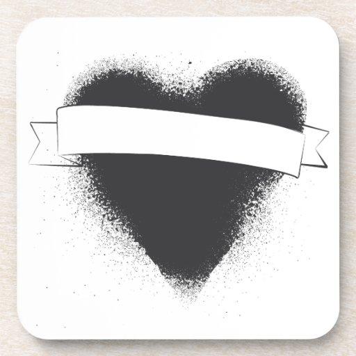 Grunge Spade in Black Coasters