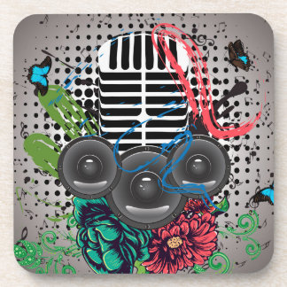 Grunge Speaker and Microphone 2 Drink Coaster