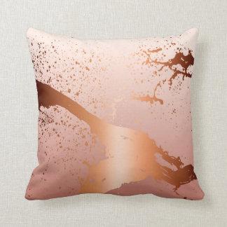 Grunge Splash Paint Splatter | rose gold peach Throw Pillow