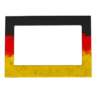 Grunge Splatter Painted Flag of Germany Magnetic Frame