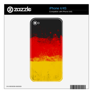 Grunge Splatter Painted Flag of Germany Skin For The iPhone 4