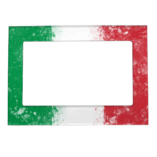 Grunge Splatter Painted Flag of Italy Magnetic Picture Frame