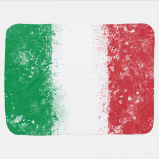 Grunge Splatter Painted Flag of Italy Receiving Blanket