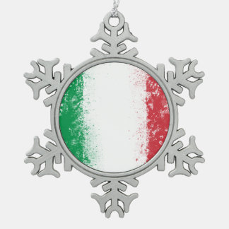 Grunge Splatter Painted Flag of Italy Snowflake Pewter Christmas Ornament