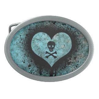 Grunge Splatter Skull & Heart Belt Buckle