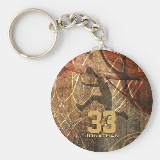 grunge sports mens basketball player personalize keychain