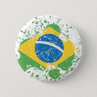 Grunge sprayed Brazil Flag Button