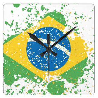 Grunge sprayed Brazil Flag Square Wall Clock