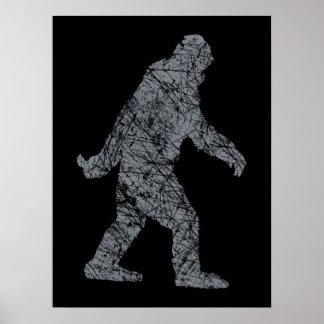 Grunge Squatchin Bigfoot Style Poster