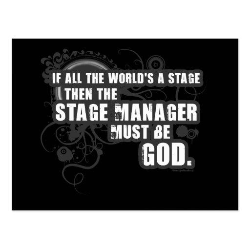 Grunge Stage Manager God Post Card