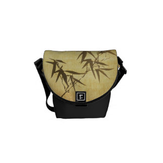 Grunge Stained Bamboo Paper Background Courier Bag