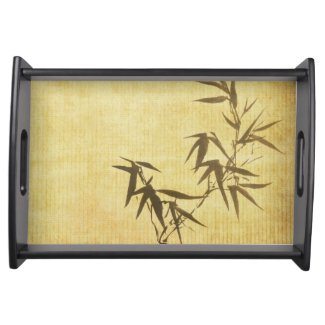 Grunge Stained Bamboo Paper Background Serving Platters