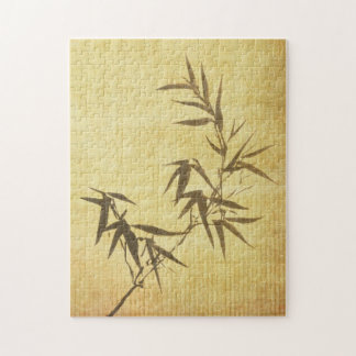 Grunge Stained Bamboo Paper Background Puzzle