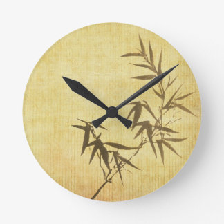 Grunge Stained Bamboo Paper Background Round Clock