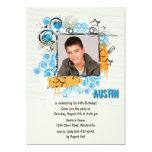 grunge star photo invitation, teen teenager