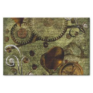 "Grunge Steampunk Clocks and Gears 10"" X 15"" Tissue Paper"