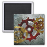 Grunge Steampunk Clocks and Gears 2 Inch Square Magnet