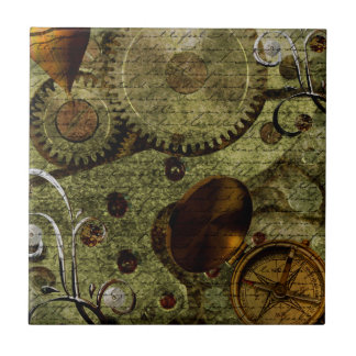 Grunge Steampunk Clocks and Gears Ceramic Tile