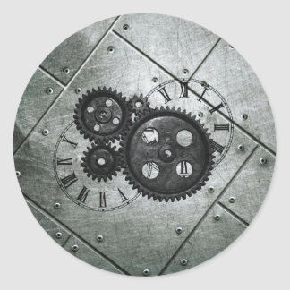 Grunge Steampunk Clocks and Gears Classic Round Sticker