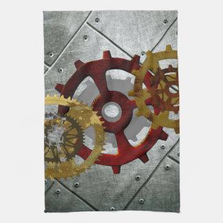 Grunge Steampunk Clocks and Gears Hand Towel