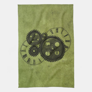 Grunge Steampunk Clocks and Gears Hand Towels
