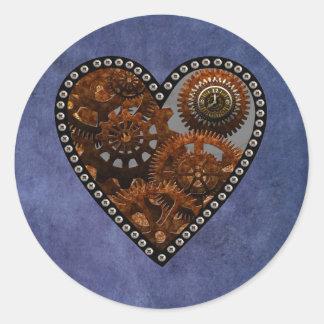 Grunge Steampunk Clocks and Gears Heart Classic Round Sticker