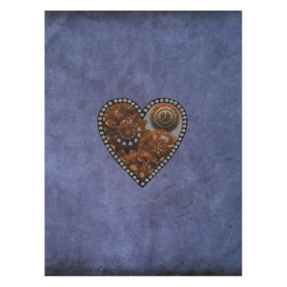 Grunge Steampunk Clocks and Gears Heart Tablecloth