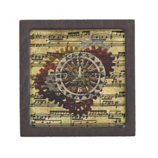 Grunge Steampunk Clocks and Gears Jewelry Box