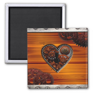 Grunge Steampunk Clocks and Gears Key Heart Box 2 Inch Square Magnet