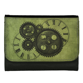 Grunge Steampunk Clocks and Gears Leather Wallets