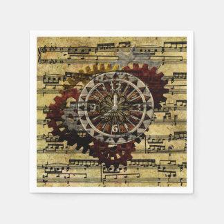 Grunge Steampunk Clocks and Gears Napkin