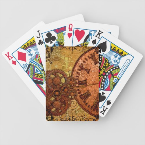Grunge Steampunk Gear and Clock Bicycle Playing Cards