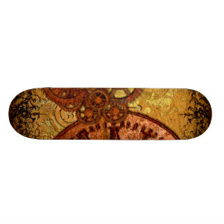 Grunge Steampunk Gear and Clock Skateboard