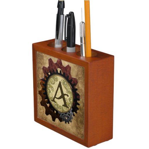 Grunge Steampunk Gears Monogram Pencil Holder