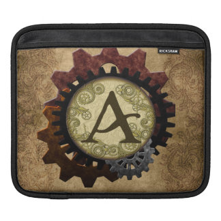 Grunge Steampunk Gears Monogram Letter A Sleeve For iPads