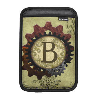 Grunge Steampunk Gears Monogram Letter B Sleeve For iPad Mini