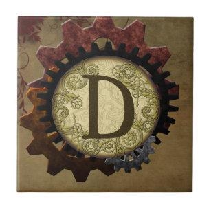 Grunge Steampunk Gears Monogram Letter D Ceramic Tile