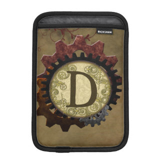 Grunge Steampunk Gears Monogram Letter D Sleeve For iPad Mini