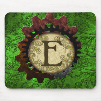 Grunge Steampunk Gears Monogram Letter E Mouse Pad