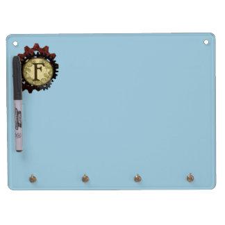 Grunge Steampunk Gears Monogram Letter F Dry Erase Board With Keychain Holder