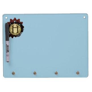 Grunge Steampunk Gears Monogram Letter H Dry Erase Board With Keychain Holder