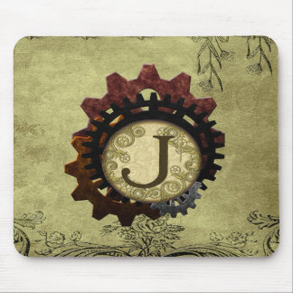 Grunge Steampunk Gears Monogram Letter J Mouse Pad