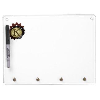 Grunge Steampunk Gears Monogram Letter K Dry Erase Board With Keychain Holder