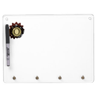 Grunge Steampunk Gears Monogram Letter O Dry Erase Board With Keychain Holder