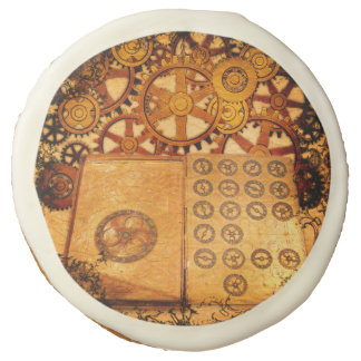 Grunge Steampunk Gears Sugar Cookie