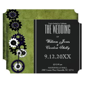 Grunge Steampunk Gears Wedding Invitation