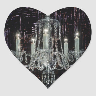 Grunge Steampunk Gothic Rustic Chandelier art Heart Sticker