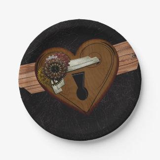 Grunge Steampunk Heart Paper Plate