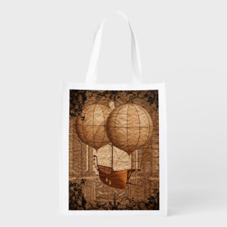 Grunge Steampunk Victorian Airship Grocery Bag